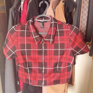 Red and Black Plaid Crop top